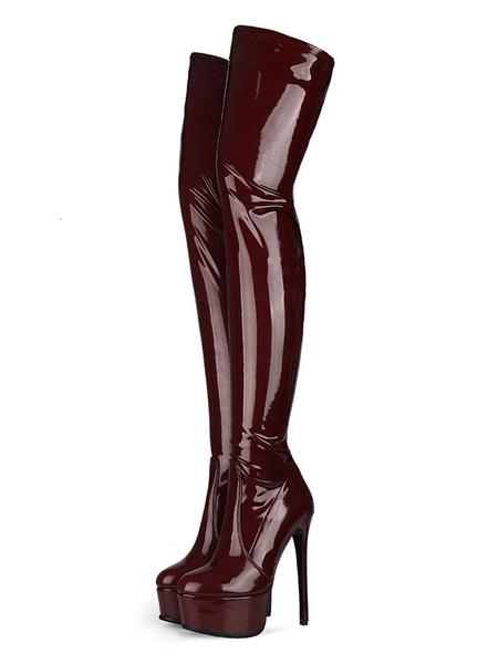 Milanoo Botas sobre la rodilla Negro Ronda del dedo del pie de la plataforma botas de invierno de las mujeres de tacon alto de alta del muslo botas