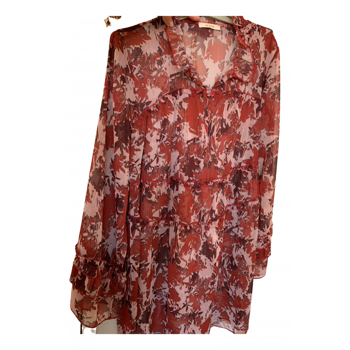 Non Signe / Unsigned \N Kleid in  Bordeauxrot Polyester