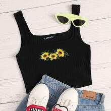Sunflower Embroidery Rib-knit Crop Tank Top