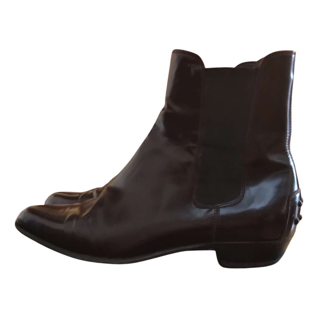 Tod's N Burgundy Leather Ankle boots for Women 36 EU