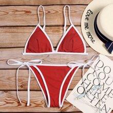 Rib Contrast Binding Triangle Tie Side Bikini Swimsuit
