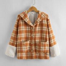 Mantel mit Kontrast Manschetten und Karo Muster