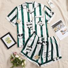 Pajama Set mit Karikatur Panda Muster und Streifen