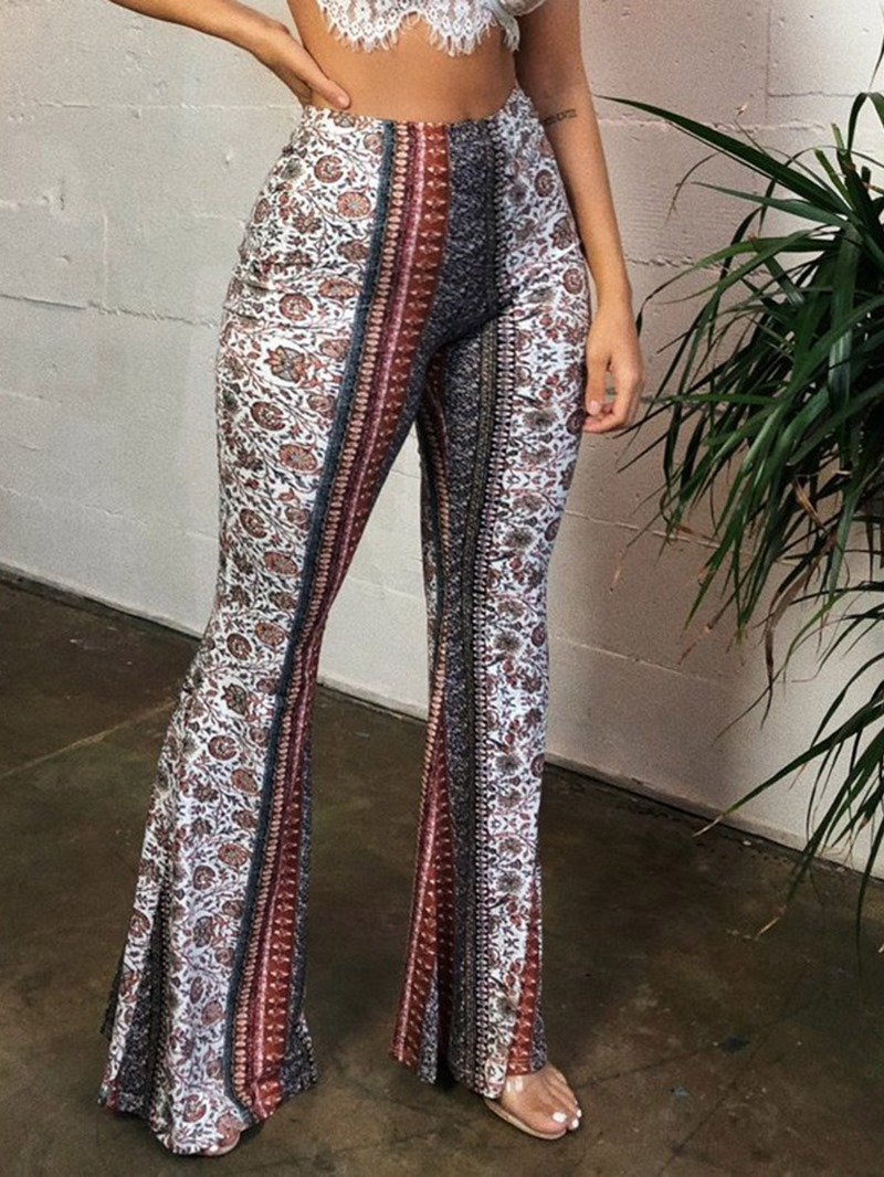 Ericdress Slim Print Floral Full Length Bellbottoms Casual Pants