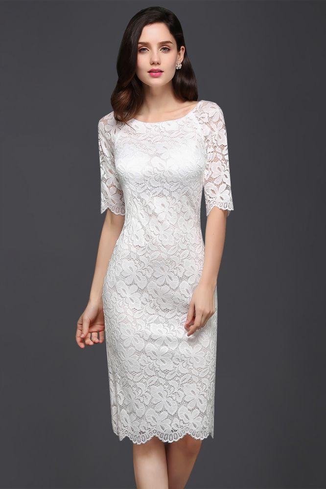 Schlichte Spitzen Kleider Knielang   Elegantes Kleid Etuikleid