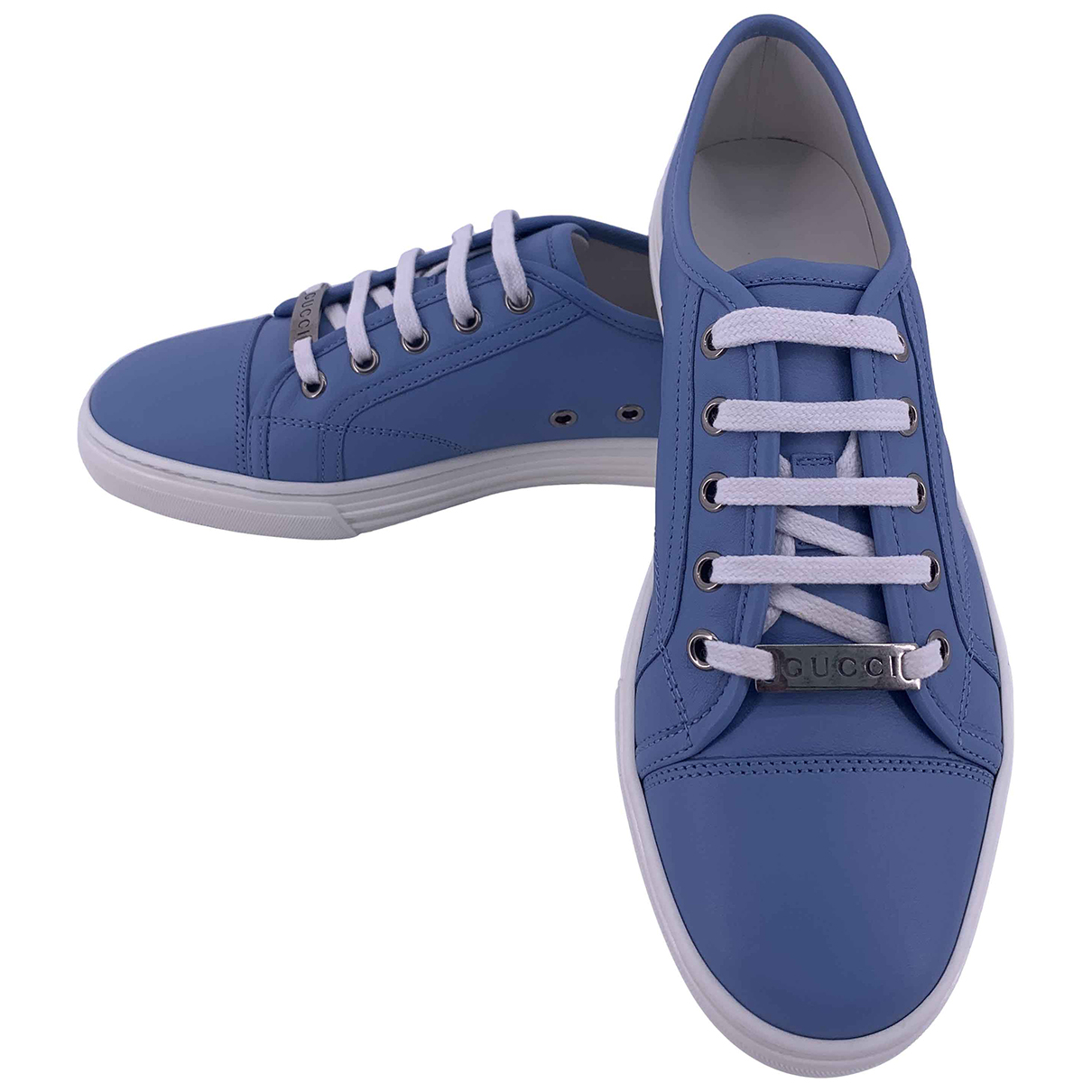 Gucci N Blue Leather Trainers for Women 39.5 IT