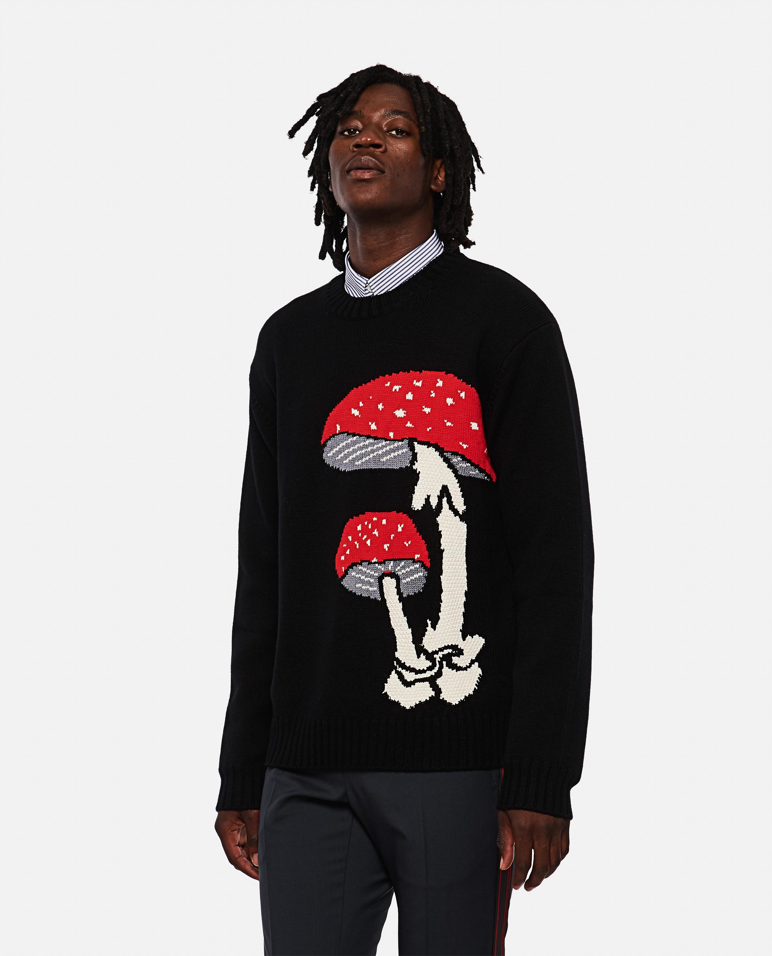 Sweater with mushroom inlay