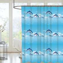 Dolphin Print Shower Curtain With 12hooks