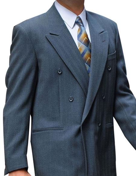 Men's Double Breasted Button Closure Peak Lapel Dark Gray Suit