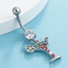 Rhinestone Decor Cocktail Charm Belly Ring