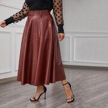Plus Buckle Belted Flare Hem PU Skirt
