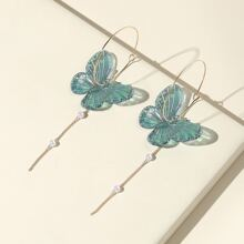 Butterfly Decor Faux Pearl Drop Earrings