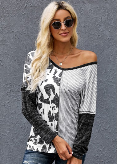Striped Contrast Long Sleeve T Shirt - S