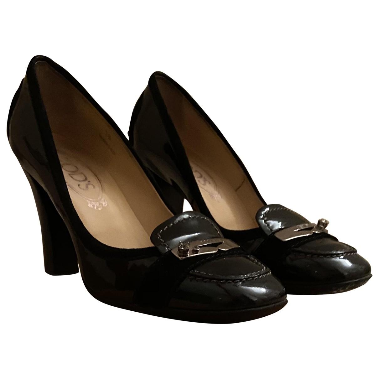 Tods - Escarpins Gommino pour femme en cuir verni - noir