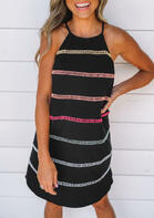 Striped Hollow Out Button Halter Mini Dress - Black