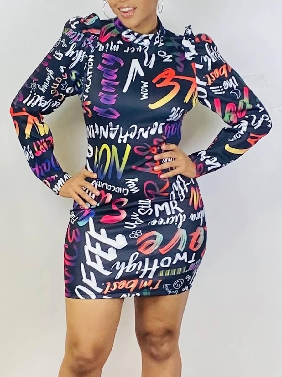 LW Lovely Trendy Half A Turtleneck Letter Print Deep Blue Mini Dress