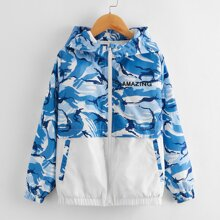 Boys Letter Graphic Camo Panel Zip Up Hooded Wind Jacket