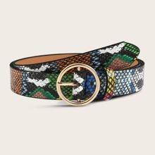 Bunter Schlangen-gepraegter Muster O-Ring Schnallenguertel