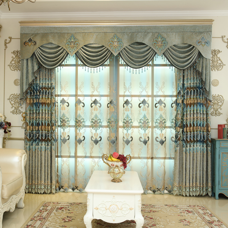 Luxury Rustic Elegant Light Green Grommet Semi Sheer Curtains