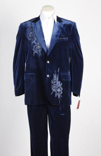 Mens Single Breasted 2 button Suit Blue