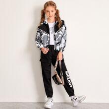 Girls Slogan Graphic Camo Wind Jacket