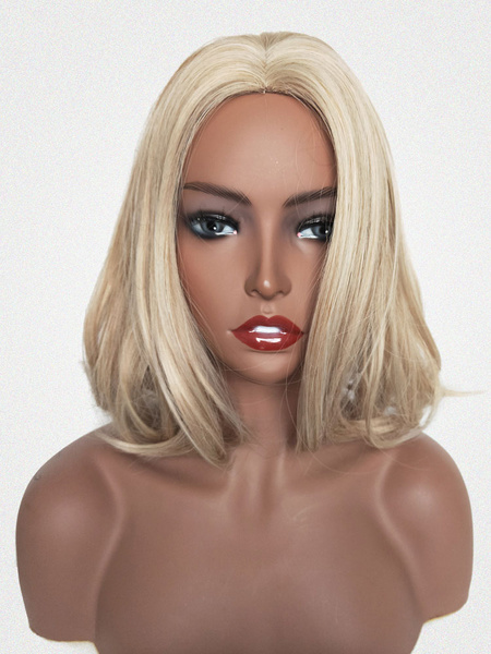 Milanoo Blonde Hair Wigs Women Centre Parting Bob Synthetic Wigs