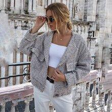 Tweed Jacke mit einreihigen Knopfen und Taschen Klappe vorn