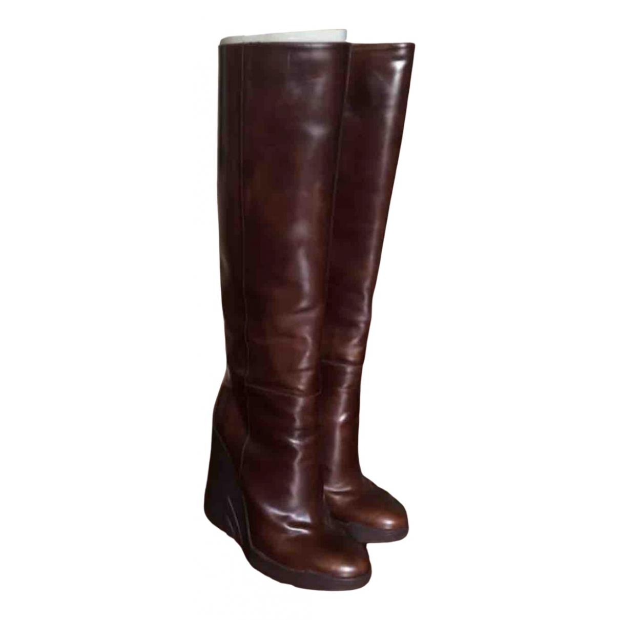 Prada - Bottes   pour femme en cuir - marron
