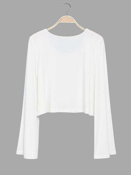 Yoins White Flared Sleeves Simple Style Cropped Top