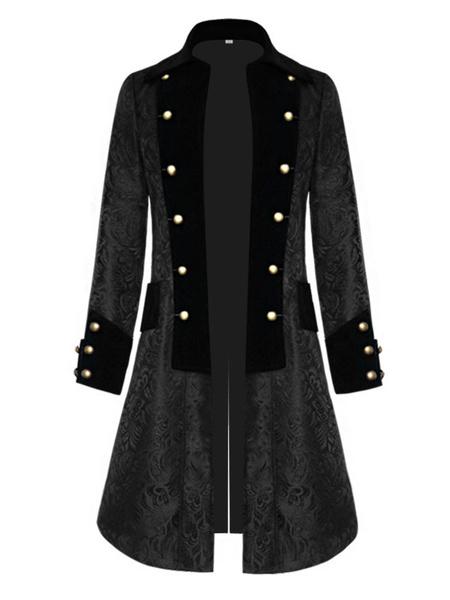 Milanoo Black Vintage Coat Middle Ages Velour Retro Costumes For Man