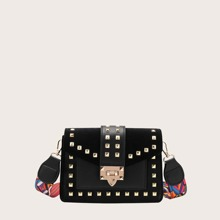 Studded Decor Flap Crossbody Bag