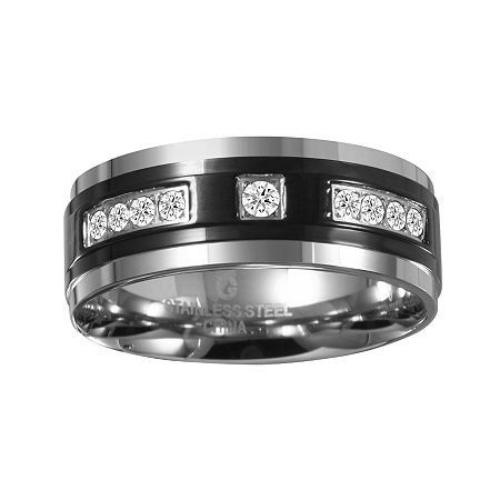 Mens ¼ CT. T.W. Diamond 8mm Black Stainless Steel Band, 9 , No Color Family