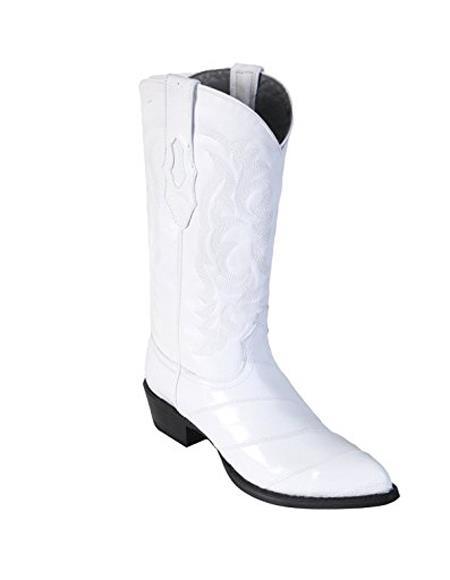Men's White King Eel Skin J-Toe Los Altos Boot Sandle Vamp