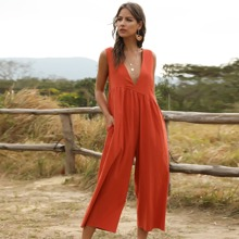 Plunging Neck Solid Culotte Jumpsuit