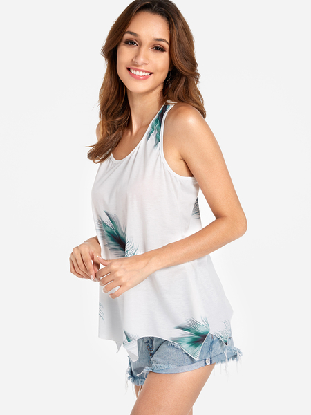 Yoins Lace-up Design Green Feather Print Round Neck Sleeveless Tank Top