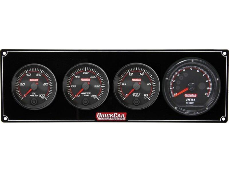 Quickcar Racing Products Redline 3-1 Gauge Panel OP/WT/Volt with Recall Tach