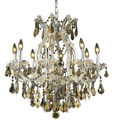2801D26C-GT/SS 2801 Maria Theresa Collection Hanging Fixture D26in H26in Lt: 8+1 Chrome Finish (Swarovski Strass/Elements Golden