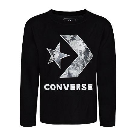 Converse Big Girls Crew Neck Long Sleeve Graphic T-Shirt, Medium , Black