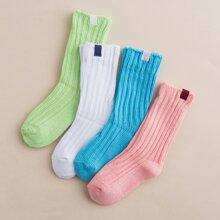 4 Paare Kleinkind Maedchen Gerippte Socken