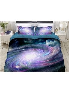 Colored Vortex In The Mysterious Galaxy Soft 3D Printed 4-Piece Polyester Bedding Sets/Duvet Covers