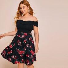 Plus Foldover Off Shoulder Floral Dress