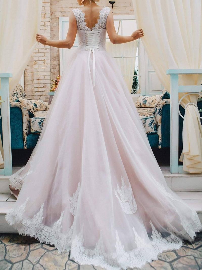 Ericdress Lace-Up Lace Garden Wedding Dress