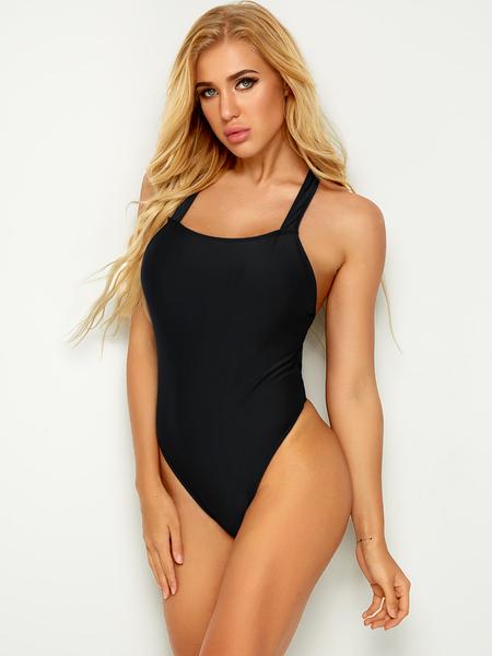 Yoins Black Sexy Backless Swimwear