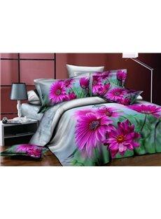 3D Purple Dahlia Green Leaves Printed Cotton 4-Piece Bedding Sets/Duvet Cover
