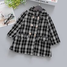 Tweed Mantel mit Plaid Muster und Klappe