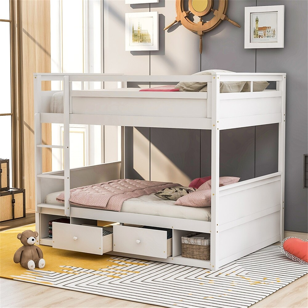 Twin over Twin Bunk Bed, with Two Drawers and Two Storage, White (New) (White - Twin)