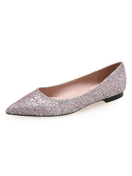Milanoo Zapatos de noche Gliter Pink Lentejuelas puntiagudas Pisos de noche