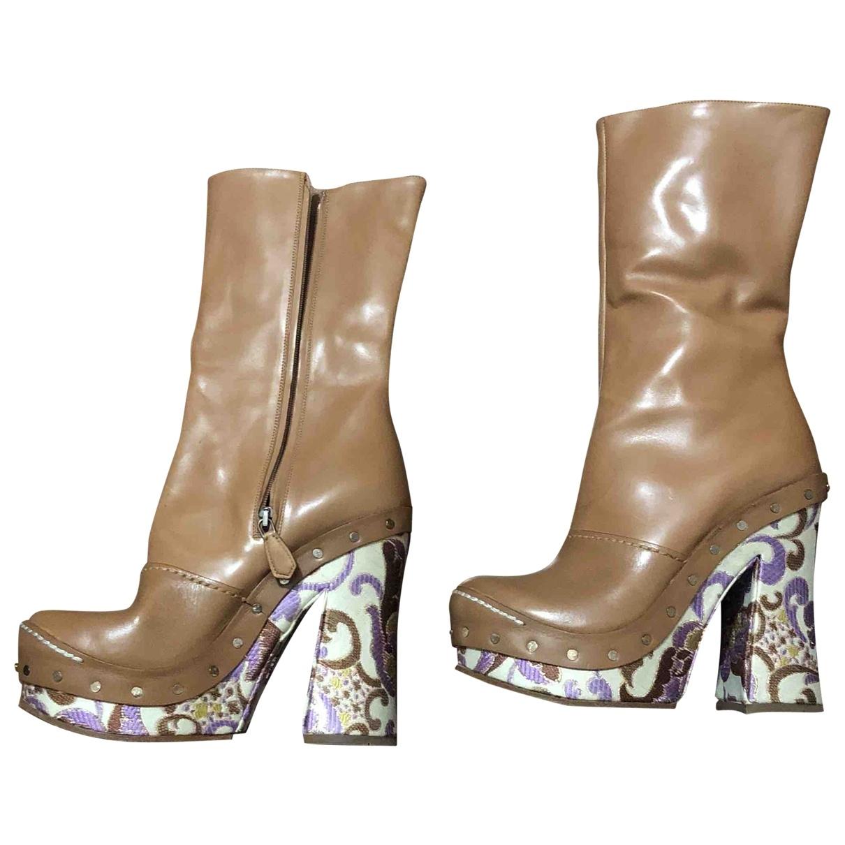 Prada \N Beige Leather Ankle boots for Women 36 EU