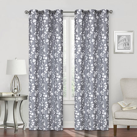 Regal Home Sterling Print Energy Saving Blackout Grommet-Top Single Curtain Panel, One Size , Gray