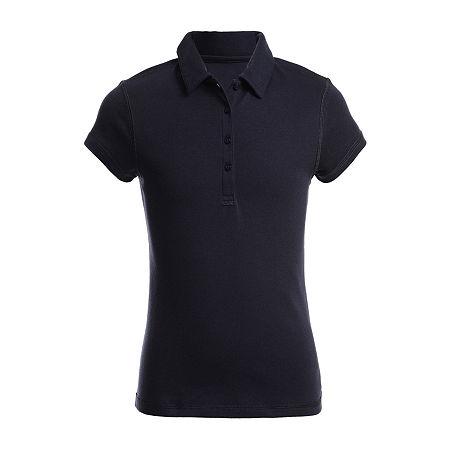 IZOD Adaptive Little & Big Girls Short Sleeve Polo Shirt, 6/6x , Blue